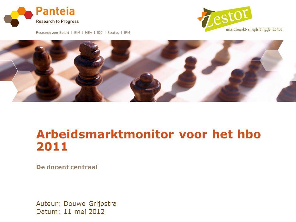 Auteur: Douwe Grijpstra Datum: 11 mei 2012 Arbeidsmarktmonitor voor het hbo 2011 De docent centraal