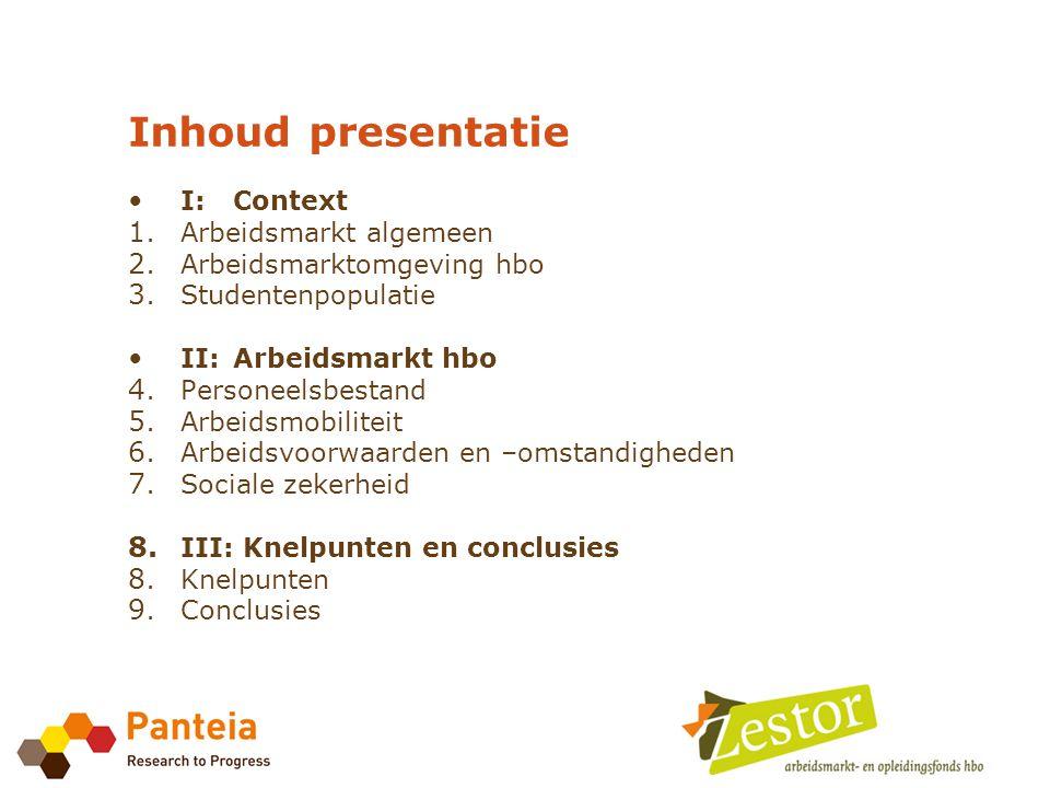 Inhoud presentatie • I:Context 1. Arbeidsmarkt algemeen 2.