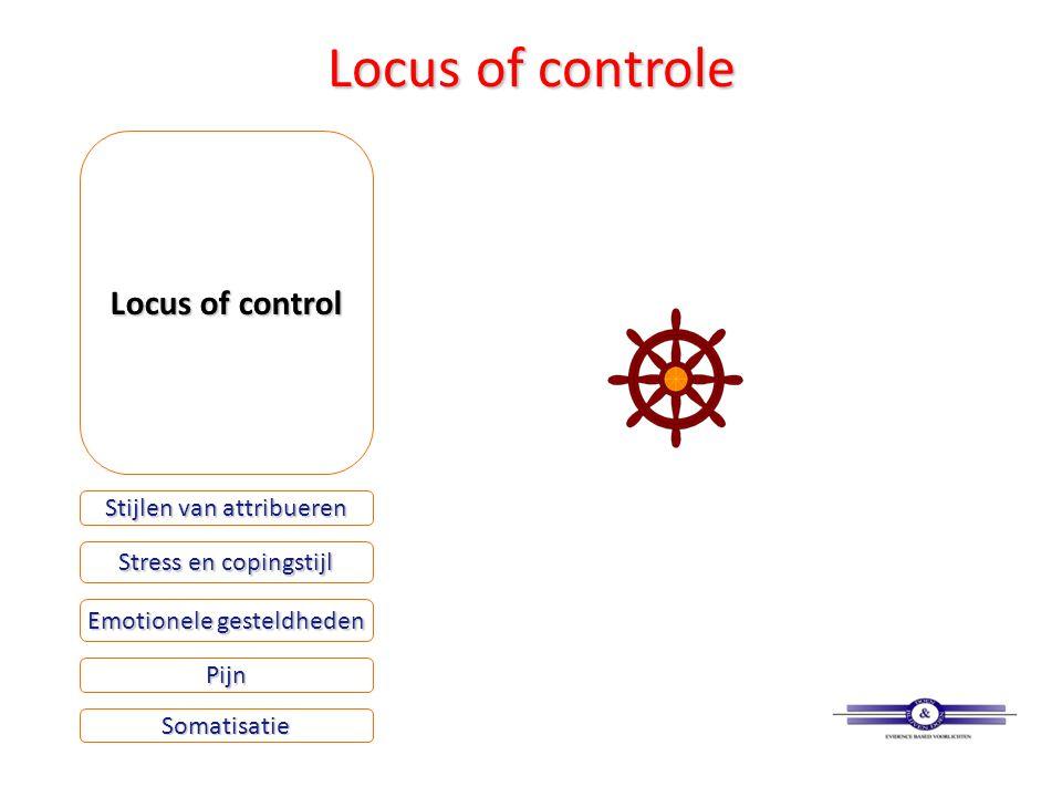 Locus of controle Locus of control Stijlen van attribueren Stress en copingstijl Emotionele gesteldheden Somatisatie Pijn