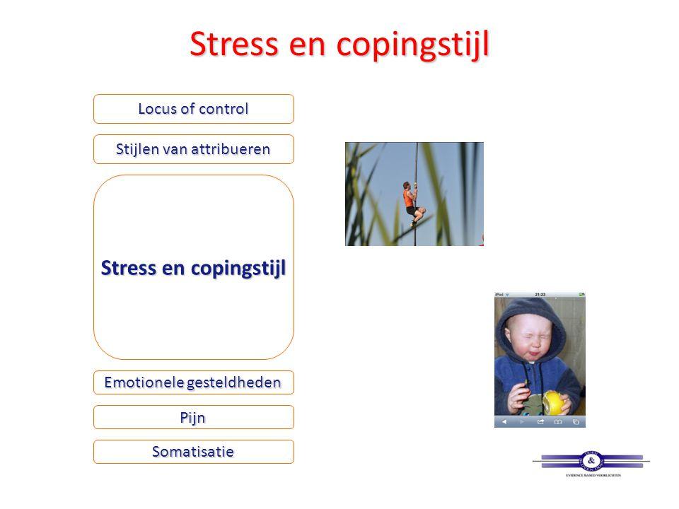 Stress en copingstijl Locus of control Stijlen van attribueren Stress en copingstijl Emotionele gesteldheden Somatisatie Pijn
