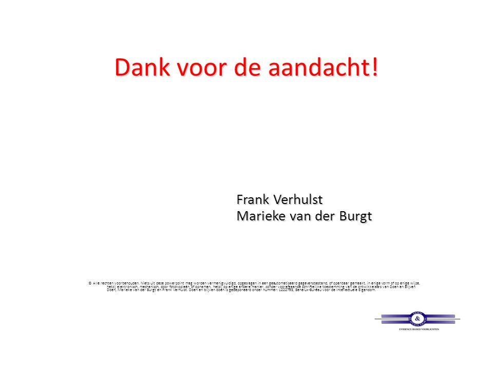 Dank voor de aandacht! Frank Verhulst Marieke van der Burgt © Alle rechten voorbehouden. Niets uit deze powerpoint mag worden vermenigvuldigd, opgesla