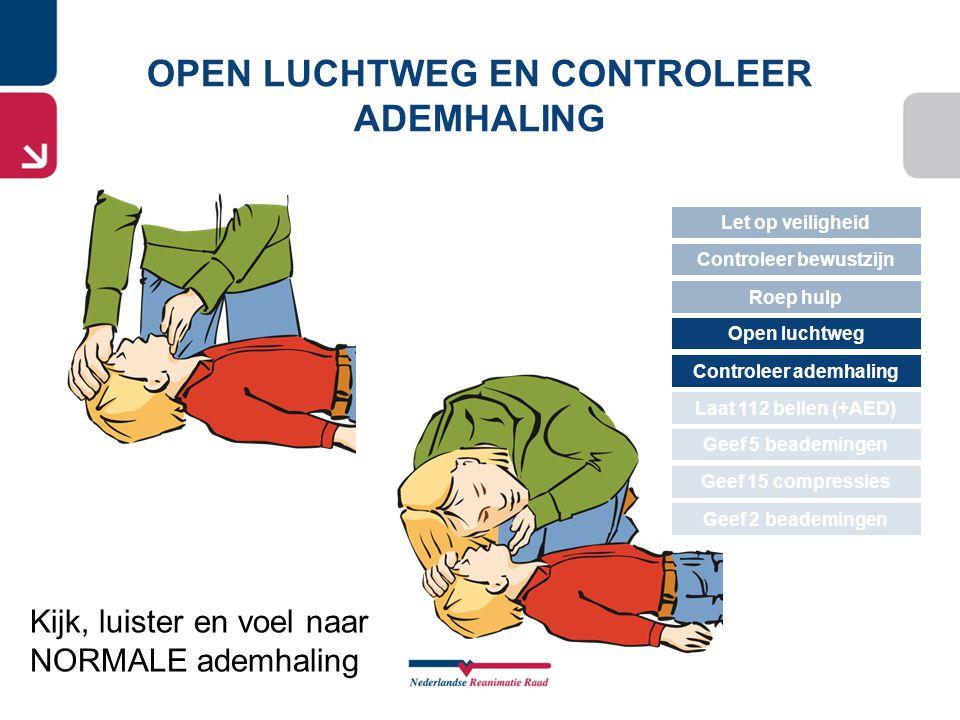 Kijk, luister en voel naar NORMALE ademhaling OPEN LUCHTWEG EN CONTROLEER ADEMHALING Let op veiligheid Controleer bewustzijn Roep hulp Open luchtweg G