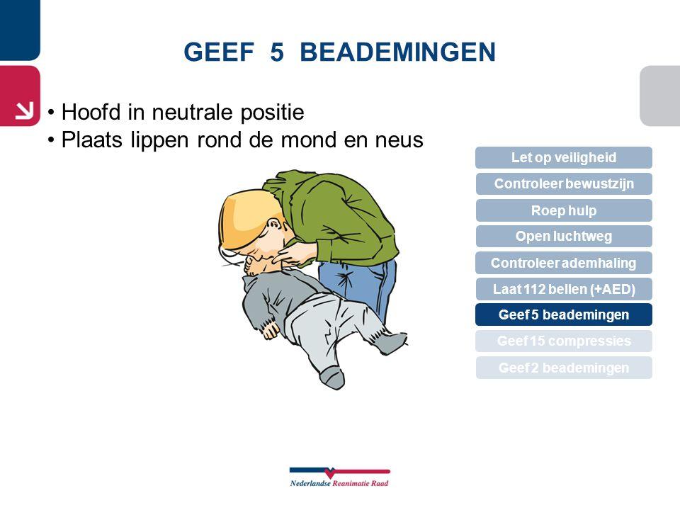 GEEF 5 BEADEMINGEN • Hoofd in neutrale positie • Plaats lippen rond de mond en neus Let op veiligheid Controleer bewustzijn Roep hulp Controleer ademh