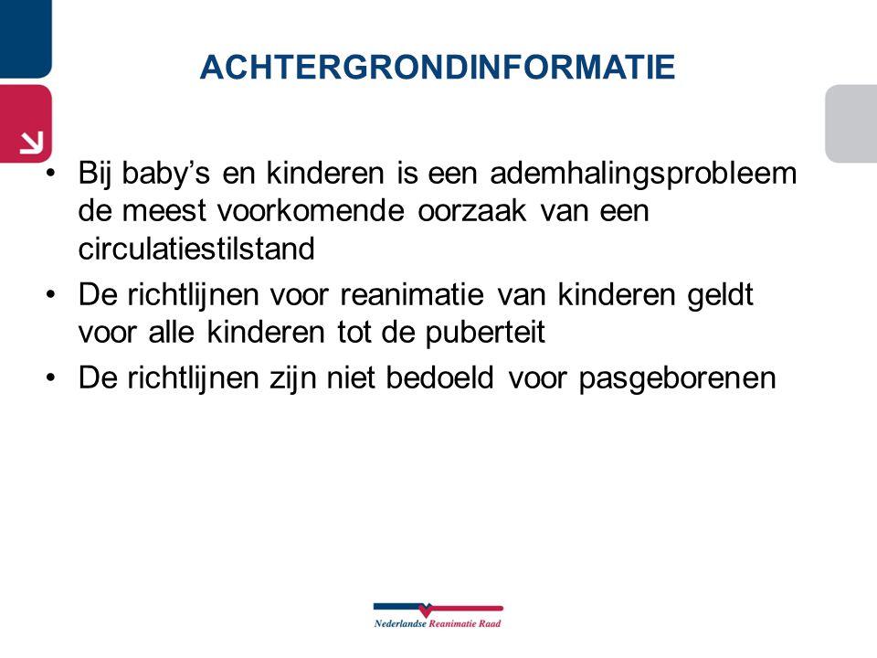 •Bij baby's en kinderen is een ademhalingsprobleem de meest voorkomende oorzaak van een circulatiestilstand •De richtlijnen voor reanimatie van kinder