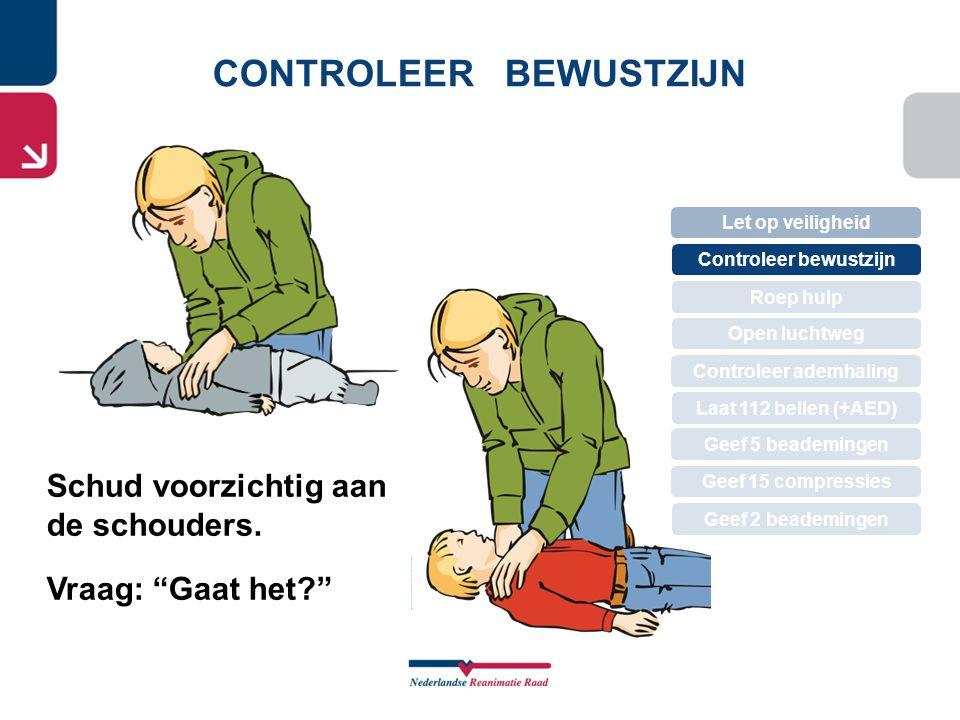 ROEP OM HULP Let op veiligheid Controleer bewustzijn Roep hulp Controleer ademhaling Open luchtweg Geef 5 beademingen Laat 112 bellen (+AED) Geef 15 compressies Geef 2 beademingen