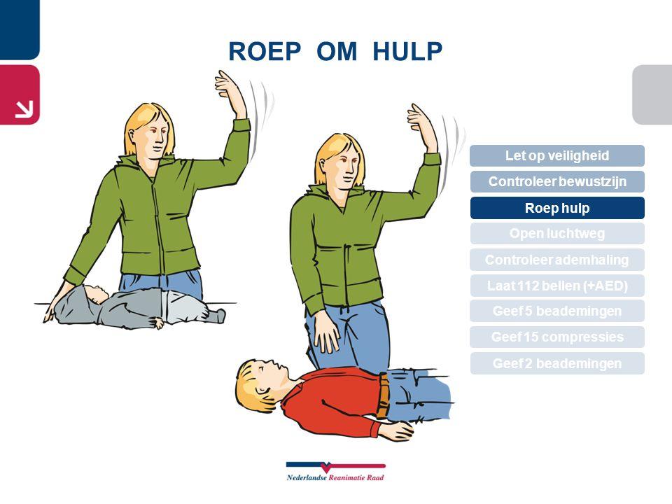 ROEP OM HULP Let op veiligheid Controleer bewustzijn Roep hulp Controleer ademhaling Open luchtweg Geef 5 beademingen Laat 112 bellen (+AED) Geef 15 c