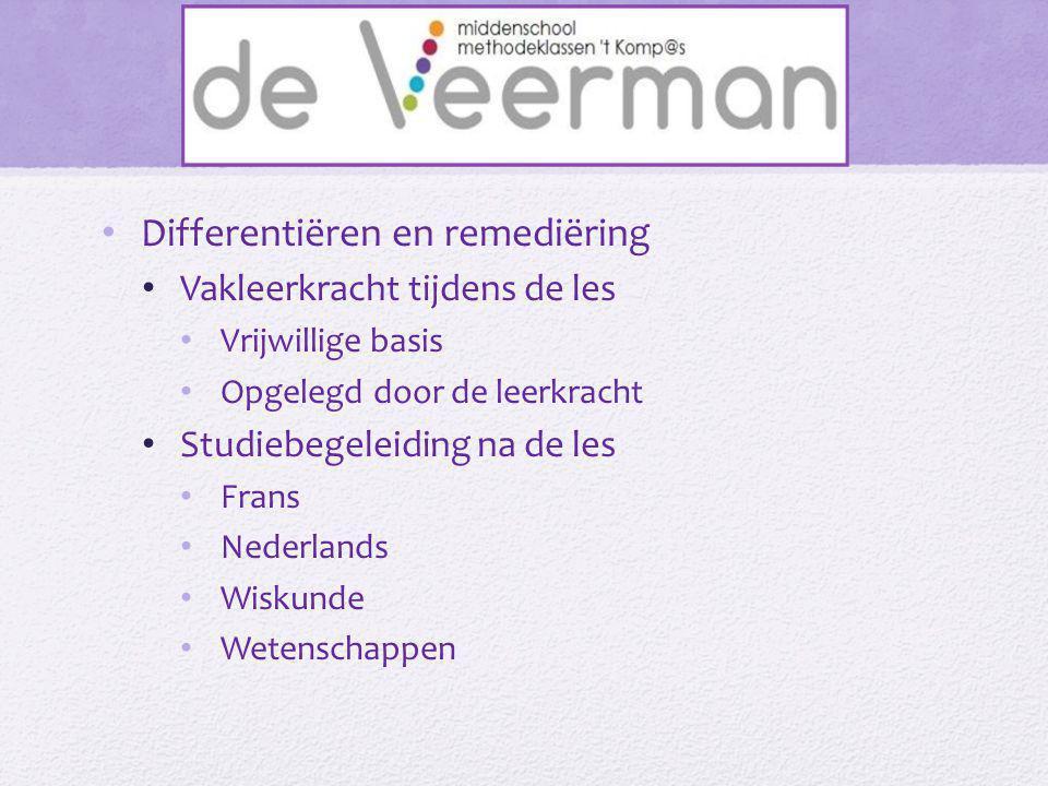 • Differentiëren en remediëring • Vakleerkracht tijdens de les • Vrijwillige basis • Opgelegd door de leerkracht • Studiebegeleiding na de les • Frans