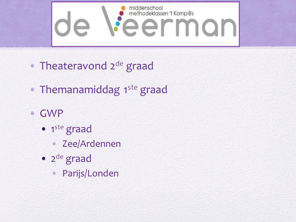 •Theateravond 2 de graad •Themanamiddag 1 ste graad •GWP •1 ste graad •Zee/Ardennen •2 de graad •Parijs/Londen