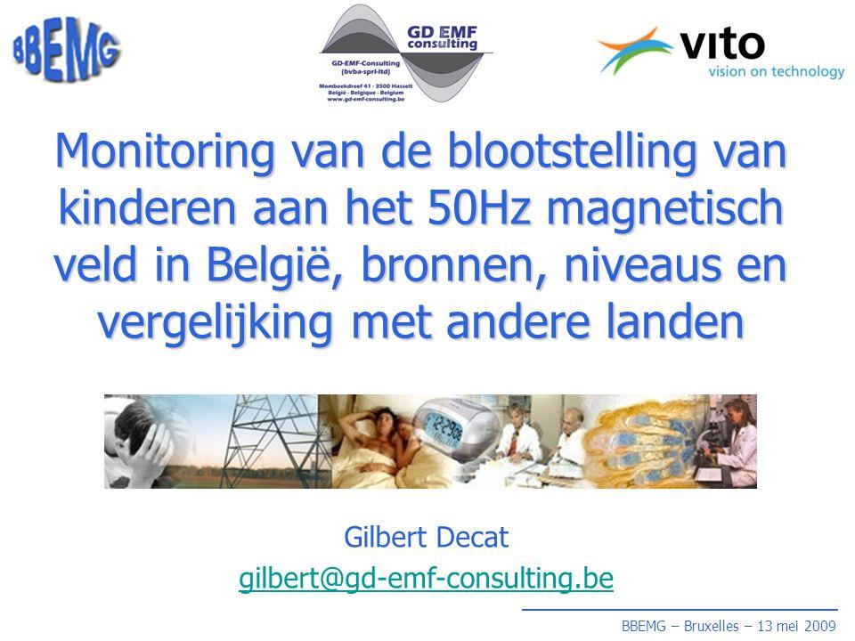 BBEMG – Bruxelles – 13 mei 2009 Monitoring van de blootstelling van kinderen aan het 50Hz magnetisch veld in België, bronnen, niveaus en vergelijking met andere landen Gilbert Decat gilbert@gd-emf-consulting.be