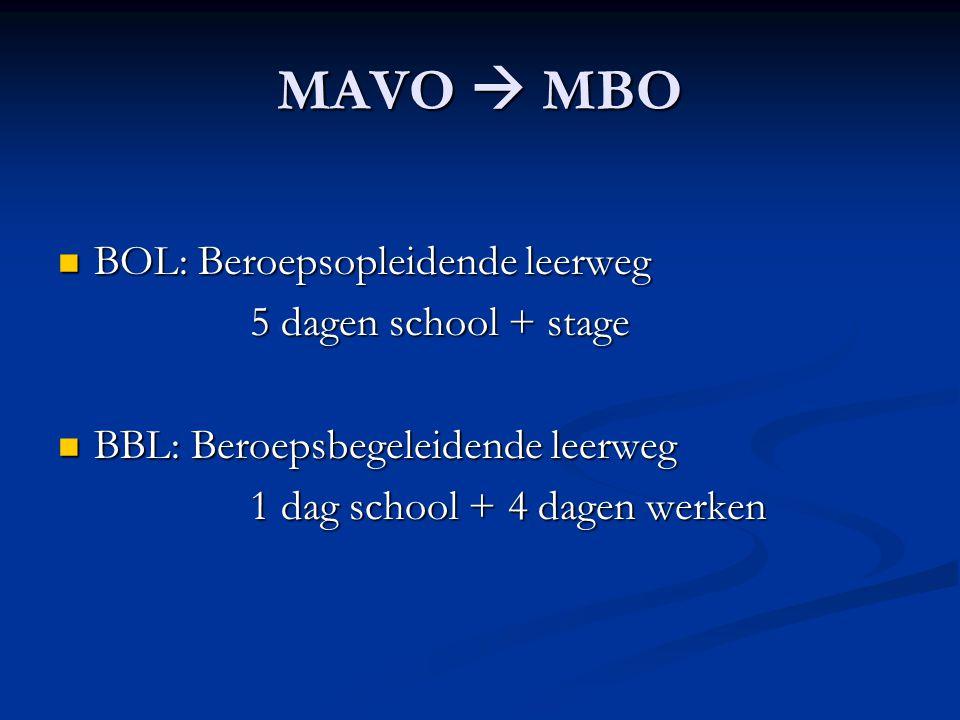 MAVO  MBO  BOL: Beroepsopleidende leerweg 5 dagen school + stage  BBL: Beroepsbegeleidende leerweg 1 dag school + 4 dagen werken
