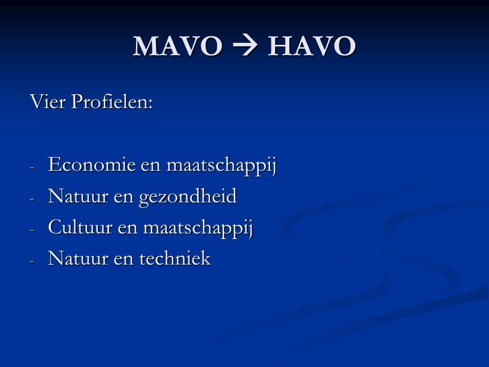 MAVO  HAVO Vier Profielen: - Economie en maatschappij - Natuur en gezondheid - Cultuur en maatschappij - Natuur en techniek
