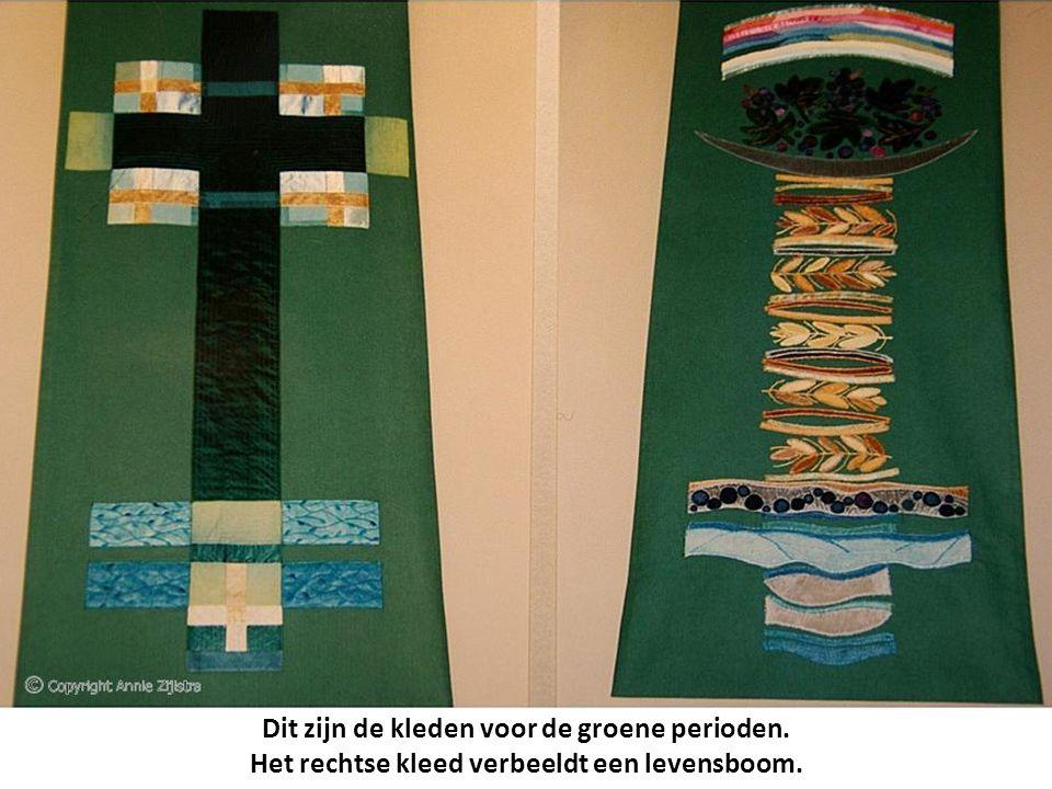 Dit zijn de kleden voor de groene perioden. Het rechtse kleed verbeeldt een levensboom.