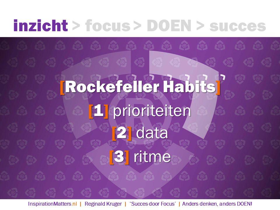 [Rockefeller Habits] [1] prioriteiten [2] data [3] ritme inzicht> focus> DOEN> succes InspirationMatters.nl | Reginald Kruger | 'Succes door Focus' | Anders denken, anders DOEN!