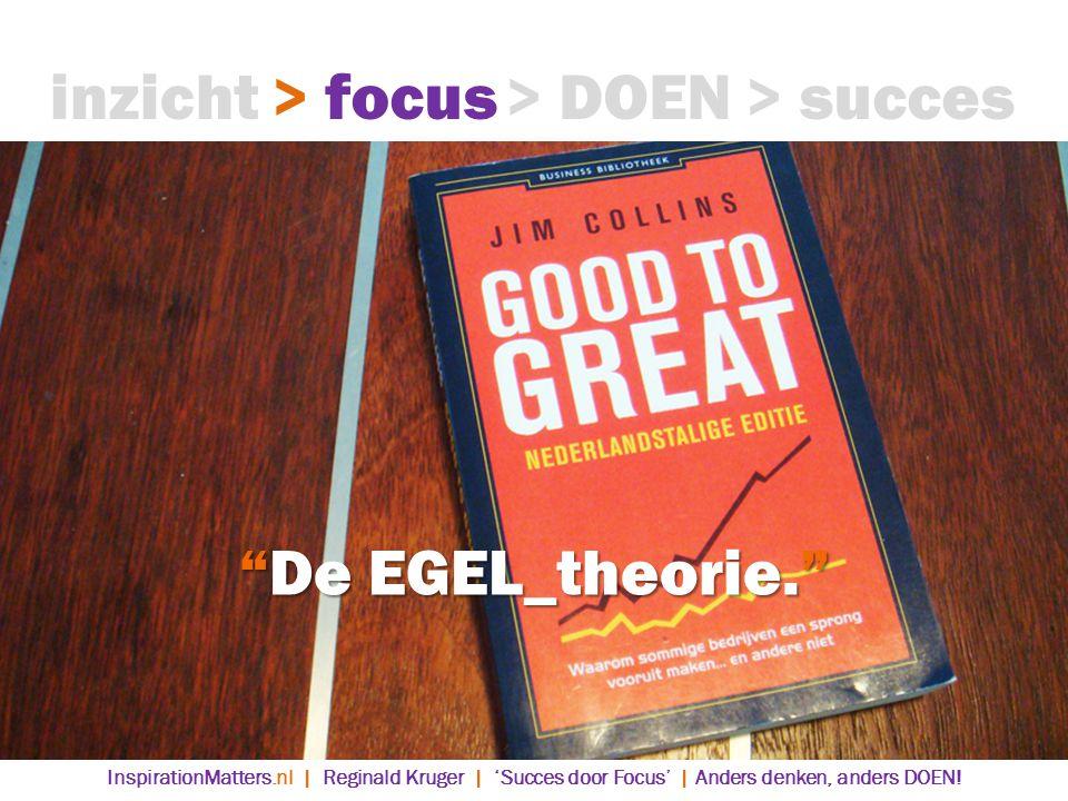 De EGEL_theorie. > DOEN> succes> focusinzicht InspirationMatters.nl | Reginald Kruger | 'Succes door Focus' | Anders denken, anders DOEN!
