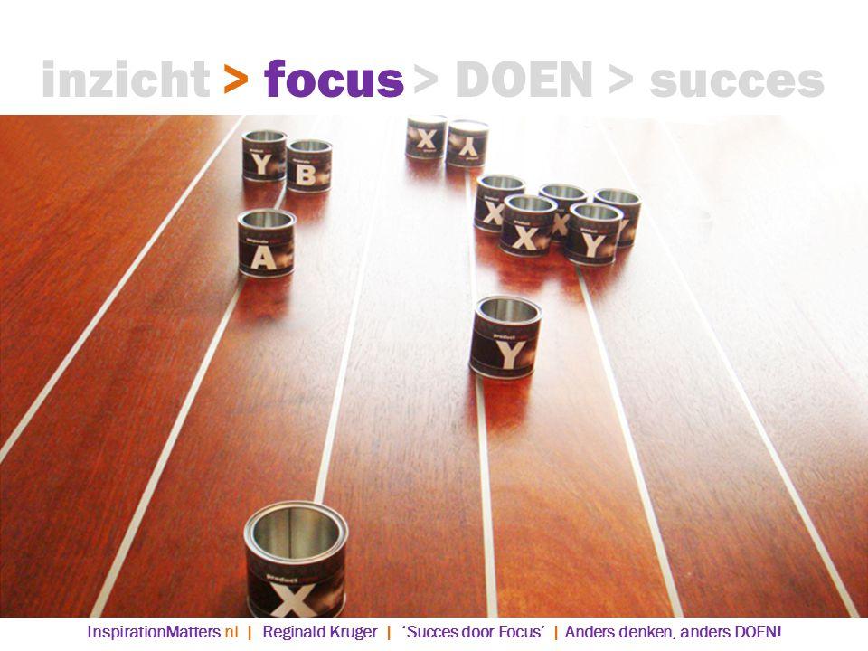 > DOEN> succes> focusinzicht InspirationMatters.nl | Reginald Kruger | 'Succes door Focus' | Anders denken, anders DOEN!