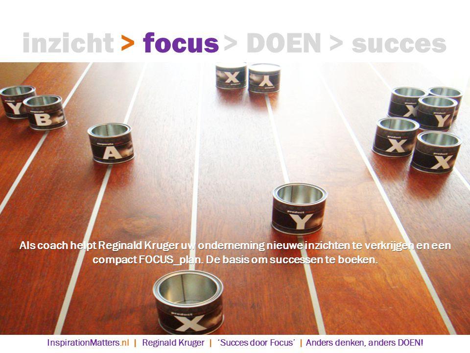 > DOEN> succes> focusinzicht InspirationMatters.nl | Reginald Kruger | 'Succes door Focus' | Anders denken, anders DOEN.