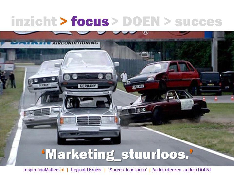 'Marketing_stuurloos.' > DOEN> succes> focusinzicht InspirationMatters.nl | Reginald Kruger | 'Succes door Focus' | Anders denken, anders DOEN!