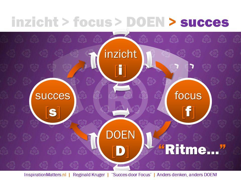 inzicht [i] focus [f] DOEN [D] succes [s] > DOEN> succes> focusinzicht Ritme… InspirationMatters.nl | Reginald Kruger | 'Succes door Focus' | Anders denken, anders DOEN!