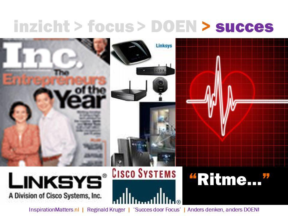 > DOEN> succes> focusinzicht Ritme… InspirationMatters.nl | Reginald Kruger | 'Succes door Focus' | Anders denken, anders DOEN!
