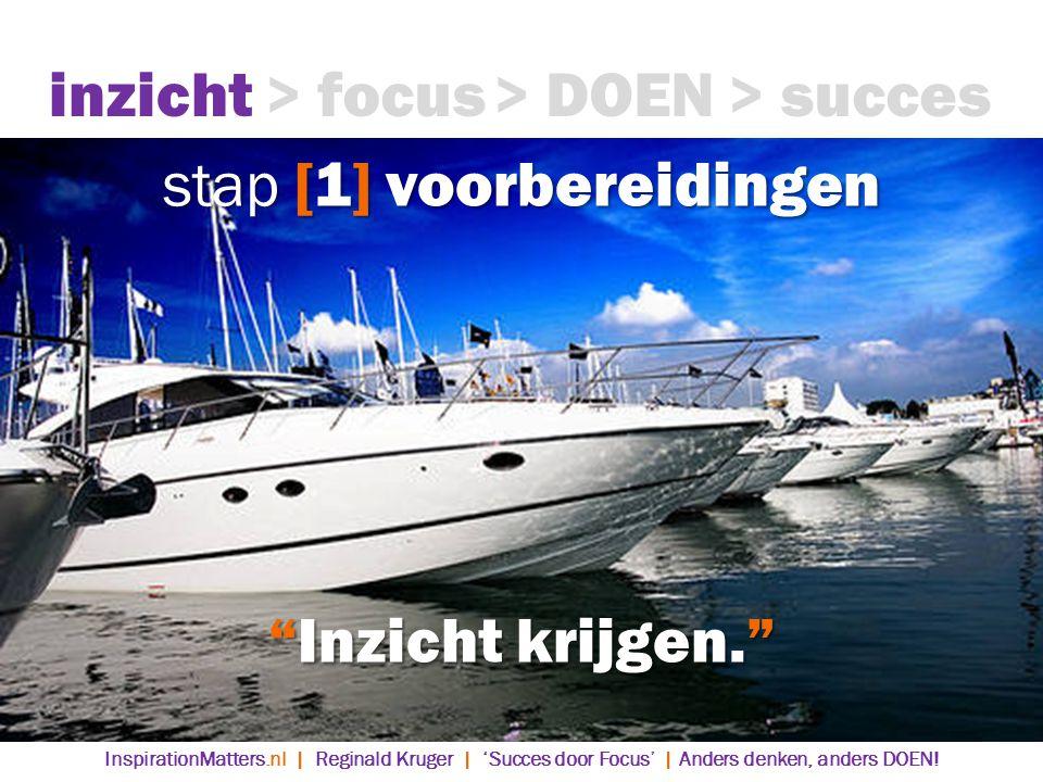 stap [1] voorbereidingen inzicht> focus> DOEN> succes Inzicht krijgen. InspirationMatters.nl | Reginald Kruger | 'Succes door Focus' | Anders denken, anders DOEN!