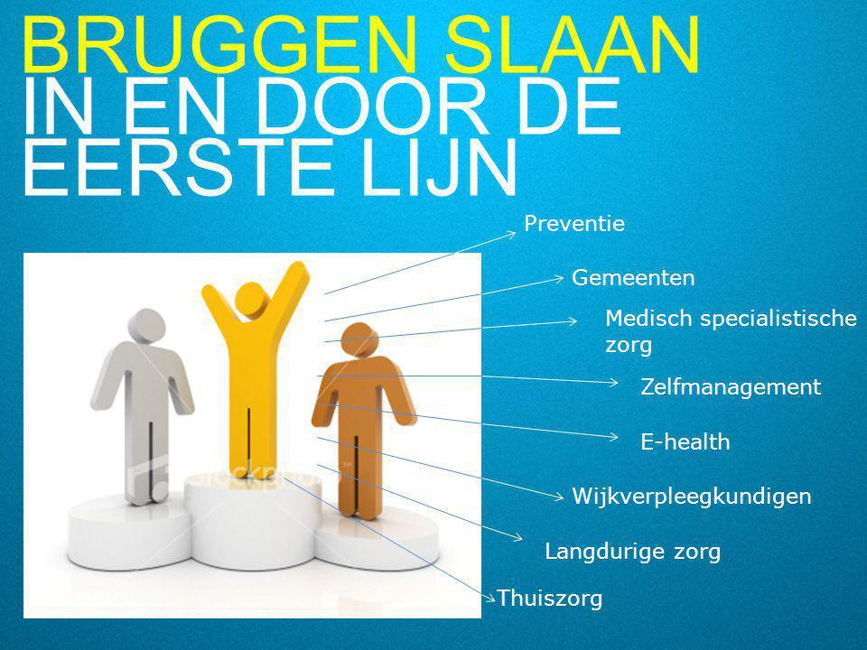BRUGGEN SLAAN IN EN DOOR DE EERSTE LIJN 11 Preventie Langdurige zorg Medisch specialistische zorg Gemeenten Zelfmanagement E-health Wijkverpleegkundig