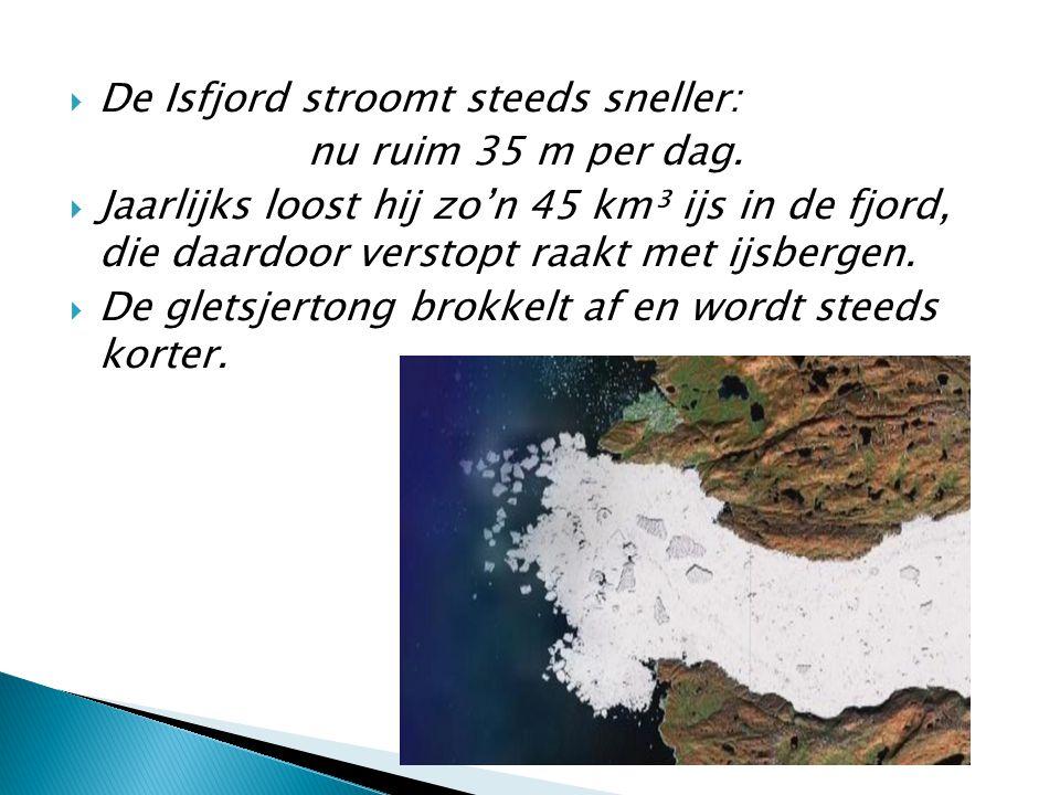  De Isfjord stroomt steeds sneller: nu ruim 35 m per dag.