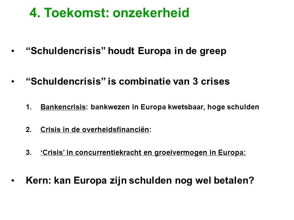 """• """"Schuldencrisis"""" houdt Europa in de greep • """"Schuldencrisis"""" is combinatie van 3 crises 1. Bankencrisis: bankwezen in Europa kwetsbaar, hoge schulde"""