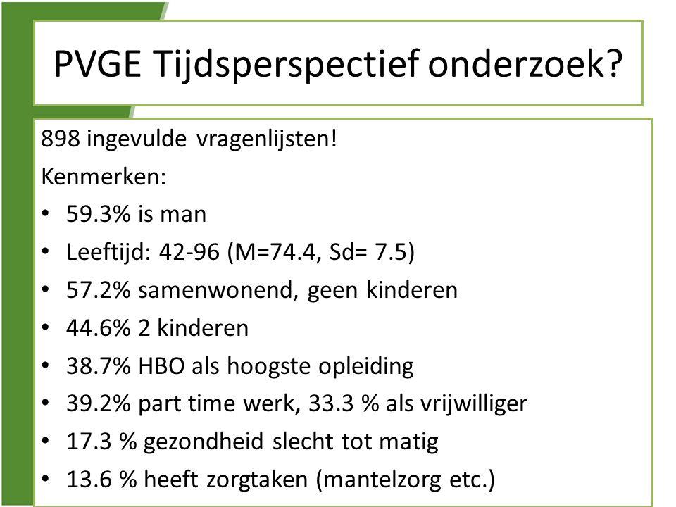 PVGE Tijdsperspectief onderzoek? 898 ingevulde vragenlijsten! Kenmerken: • 59.3% is man • Leeftijd: 42-96 (M=74.4, Sd= 7.5) • 57.2% samenwonend, geen