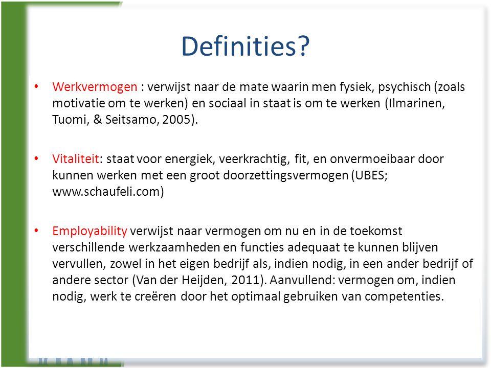 Definities? • Werkvermogen : verwijst naar de mate waarin men fysiek, psychisch (zoals motivatie om te werken) en sociaal in staat is om te werken (Il
