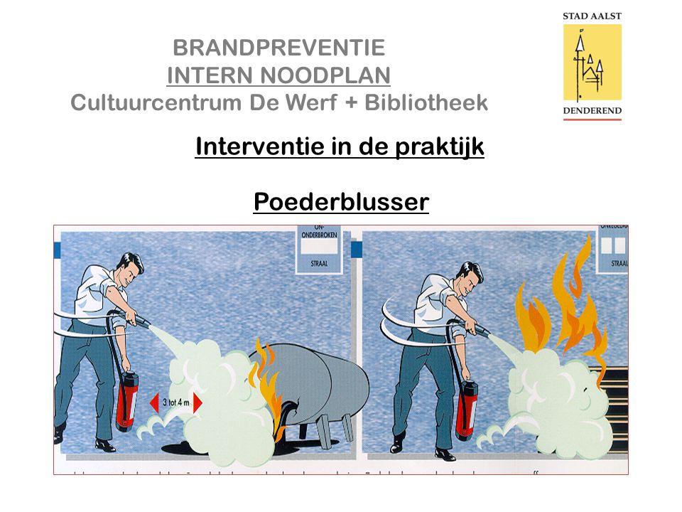 BRANDPREVENTIE INTERN NOODPLAN Cultuurcentrum De Werf + Bibliotheek Interventie in de praktijk Poederblusser
