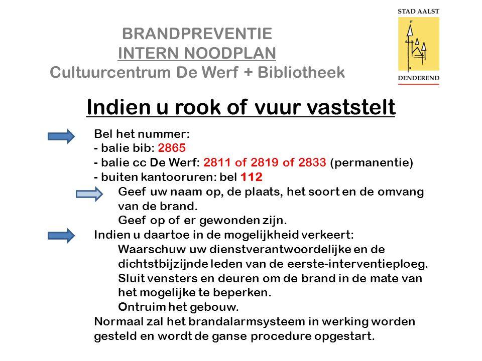 BRANDPREVENTIE INTERN NOODPLAN Cultuurcentrum De Werf + Bibliotheek Bedankt voor een veilige samenwerking