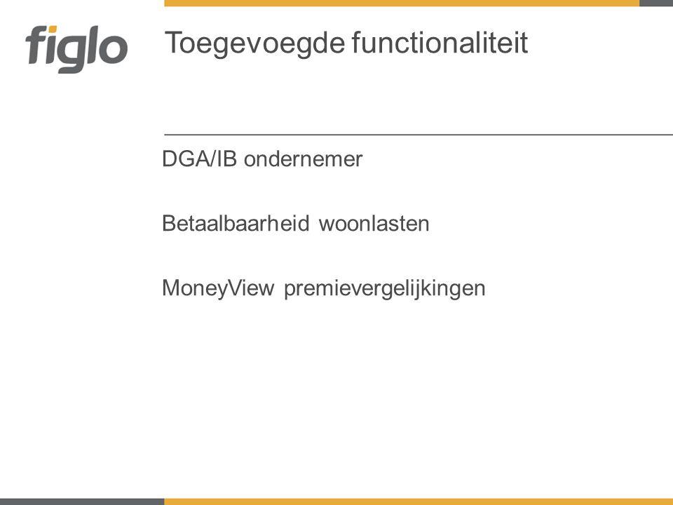 DGA/IB ondernemer Betaalbaarheid woonlasten MoneyView premievergelijkingen Toegevoegde functionaliteit