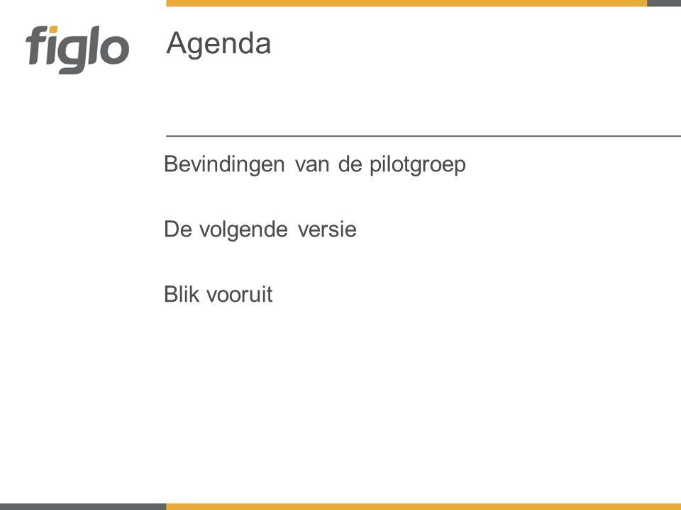 Bevindingen van de pilotgroep De volgende versie Blik vooruit Agenda