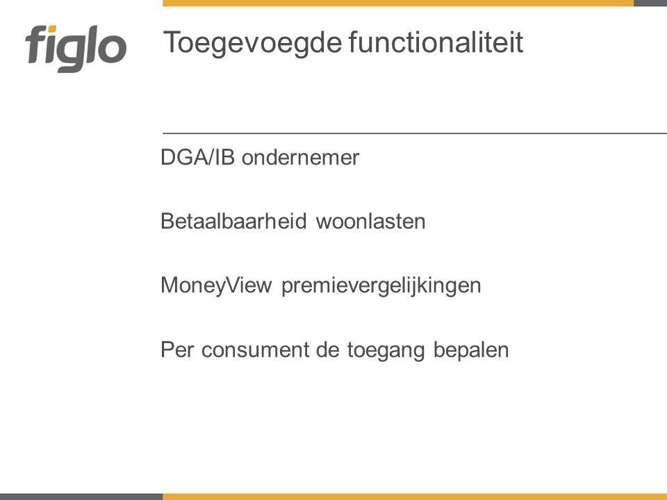 DGA/IB ondernemer Betaalbaarheid woonlasten MoneyView premievergelijkingen Per consument de toegang bepalen Toegevoegde functionaliteit