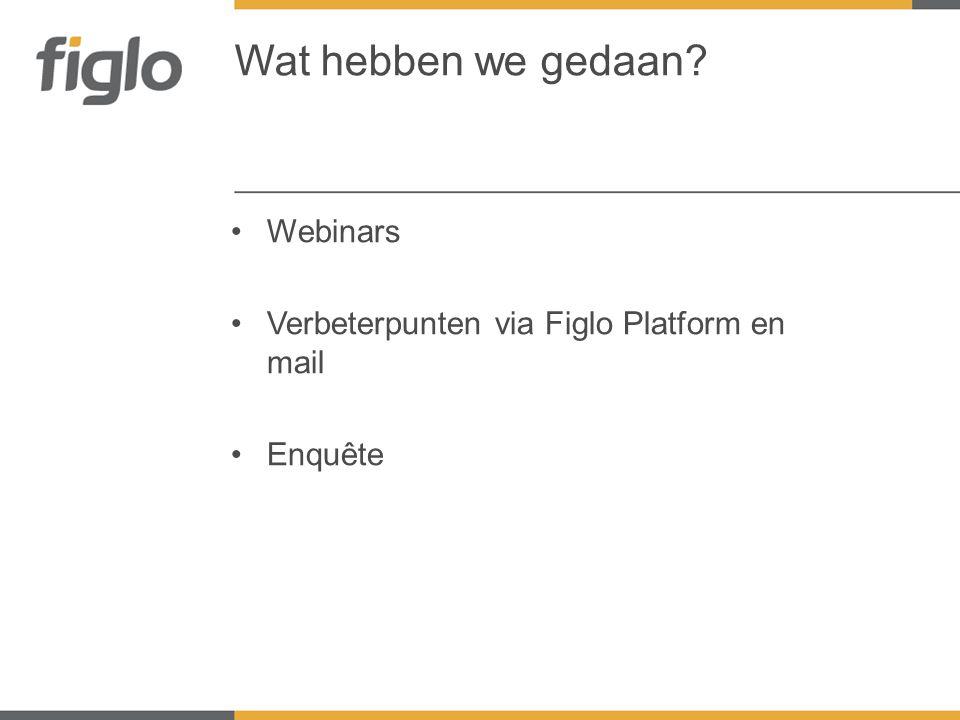 •Webinars •Verbeterpunten via Figlo Platform en mail •Enquête Wat hebben we gedaan