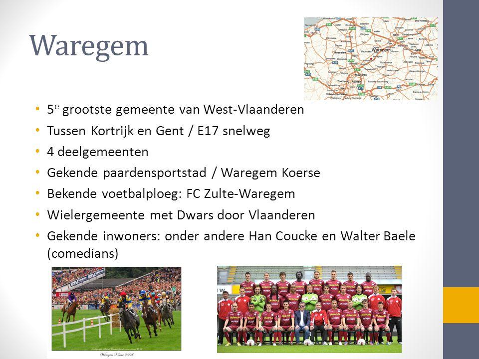 Waregem • 5 e grootste gemeente van West-Vlaanderen • Tussen Kortrijk en Gent / E17 snelweg • 4 deelgemeenten • Gekende paardensportstad / Waregem Koerse • Bekende voetbalploeg: FC Zulte-Waregem • Wielergemeente met Dwars door Vlaanderen • Gekende inwoners: onder andere Han Coucke en Walter Baele (comedians)