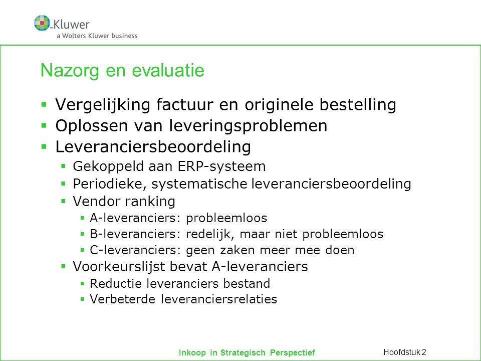 Inkoop in Strategisch Perspectief Nazorg en evaluatie  Vergelijking factuur en originele bestelling  Oplossen van leveringsproblemen  Leveranciersb