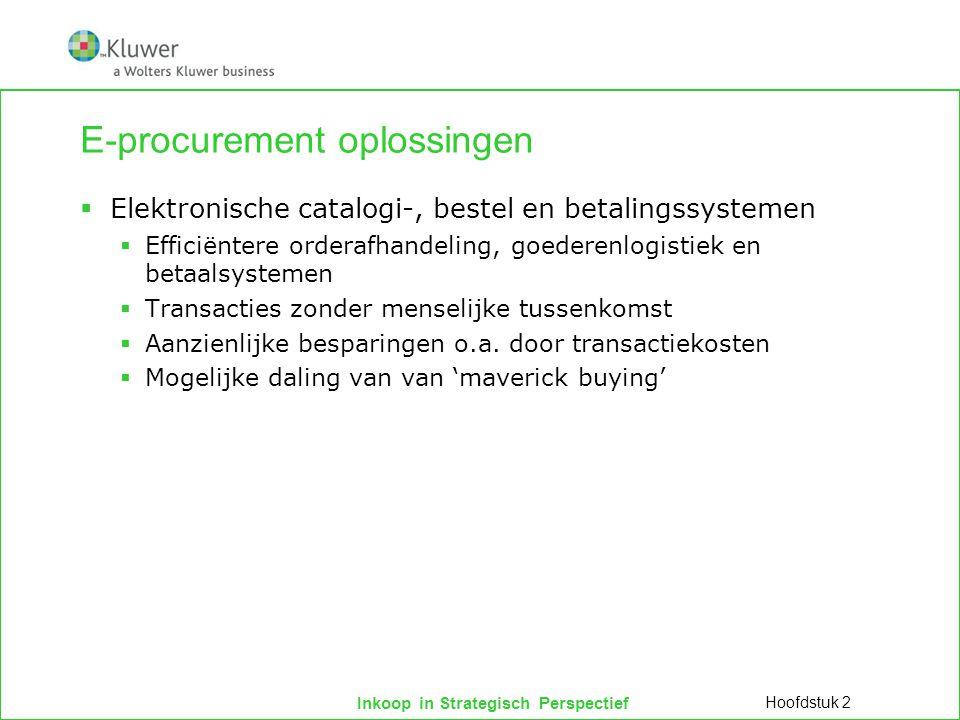 Inkoop in Strategisch Perspectief E-procurement oplossingen  Elektronische catalogi-, bestel en betalingssystemen  Efficiëntere orderafhandeling, go