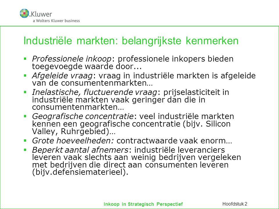 Inkoop in Strategisch Perspectief Industriële markten: belangrijkste kenmerken  Professionele inkoop: professionele inkopers bieden toegevoegde waard