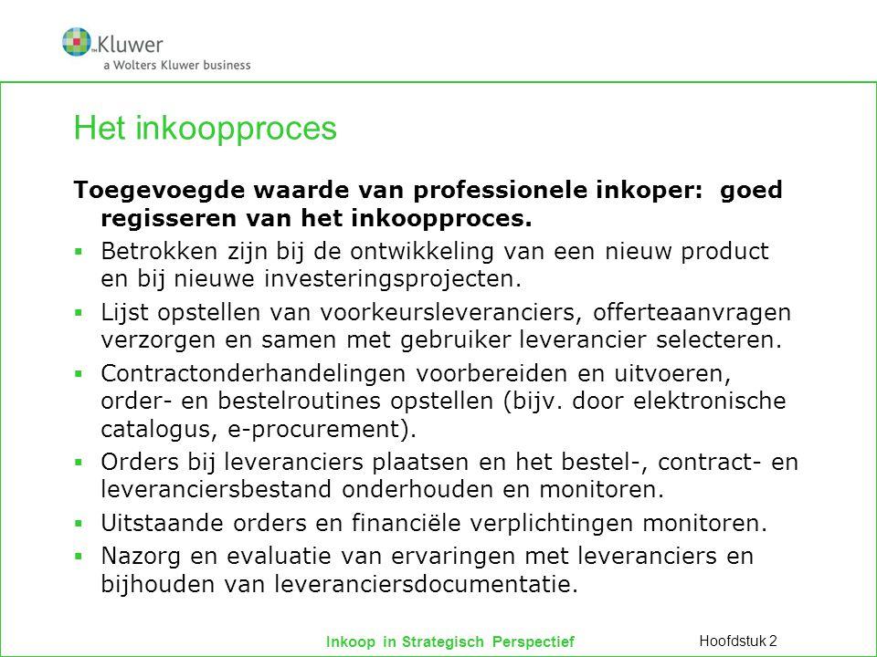 Inkoop in Strategisch Perspectief Het inkoopproces Toegevoegde waarde van professionele inkoper: goed regisseren van het inkoopproces.  Betrokken zij