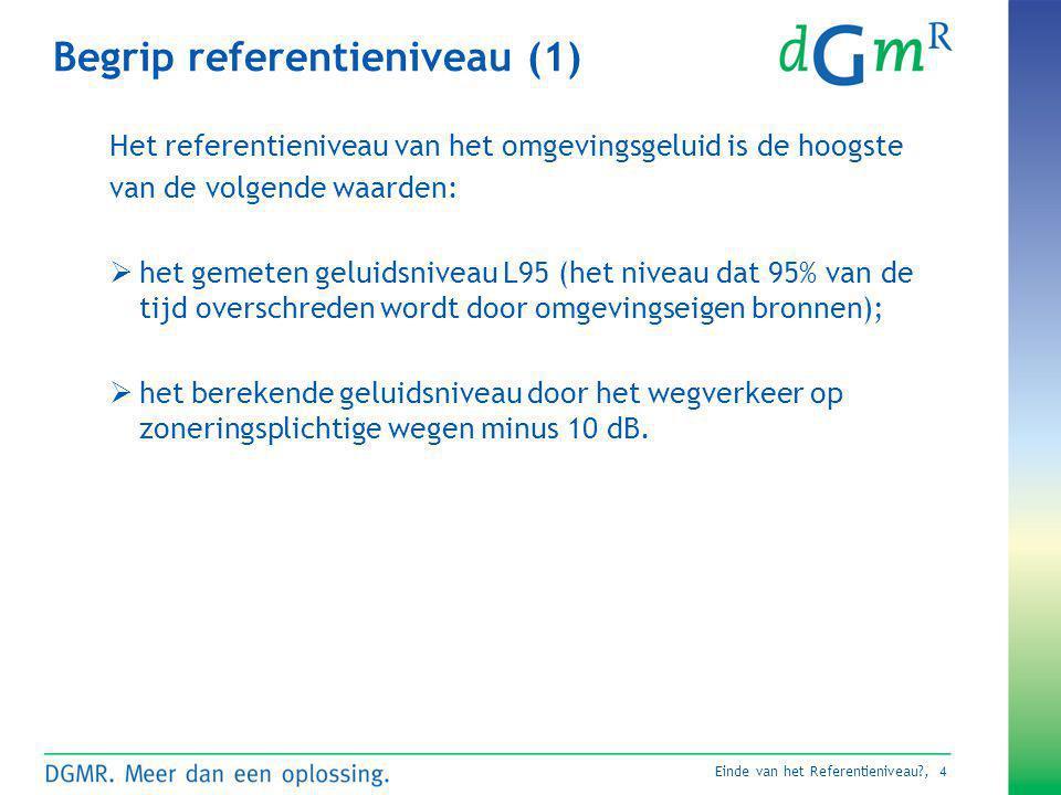 Einde van het Referentieniveau?, 4 Begrip referentieniveau (1) Het referentieniveau van het omgevingsgeluid is de hoogste van de volgende waarden:  h