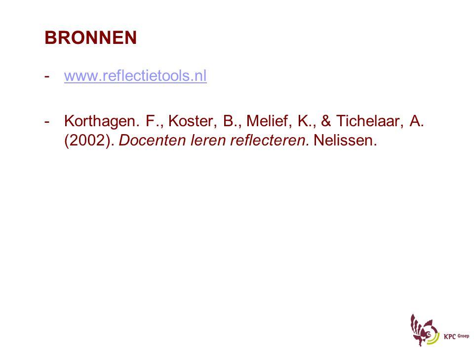 BRONNEN -www.reflectietools.nlwww.reflectietools.nl -Korthagen. F., Koster, B., Melief, K., & Tichelaar, A. (2002). Docenten leren reflecteren. Neliss