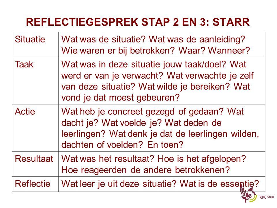 REFLECTIEGESPREK STAP 2 EN 3: STARR SituatieWat was de situatie? Wat was de aanleiding? Wie waren er bij betrokken? Waar? Wanneer? TaakWat was in deze