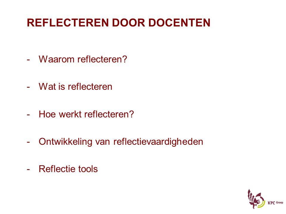 REFLECTEREN DOOR DOCENTEN -Waarom reflecteren? -Wat is reflecteren -Hoe werkt reflecteren? -Ontwikkeling van reflectievaardigheden -Reflectie tools