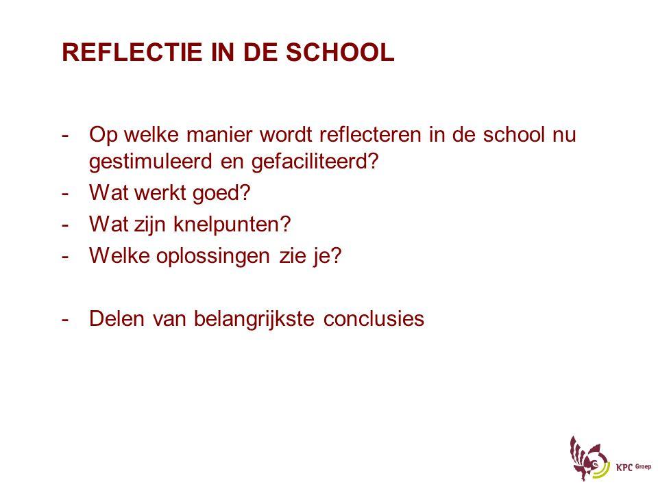 REFLECTIE IN DE SCHOOL -Op welke manier wordt reflecteren in de school nu gestimuleerd en gefaciliteerd? -Wat werkt goed? -Wat zijn knelpunten? -Welke
