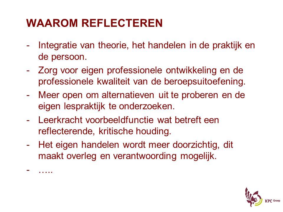 WAAROM REFLECTEREN -Integratie van theorie, het handelen in de praktijk en de persoon. -Zorg voor eigen professionele ontwikkeling en de professionele
