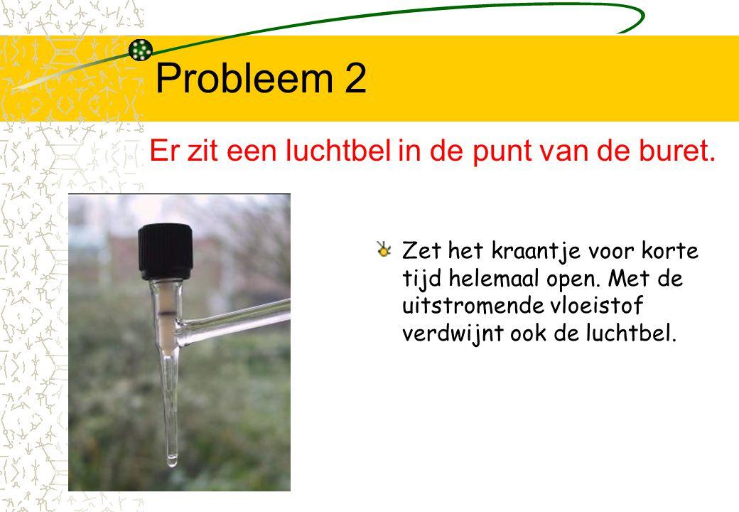 Probleem 2 Zet het kraantje voor korte tijd helemaal open. Met de uitstromende vloeistof verdwijnt ook de luchtbel. Er zit een luchtbel in de punt van