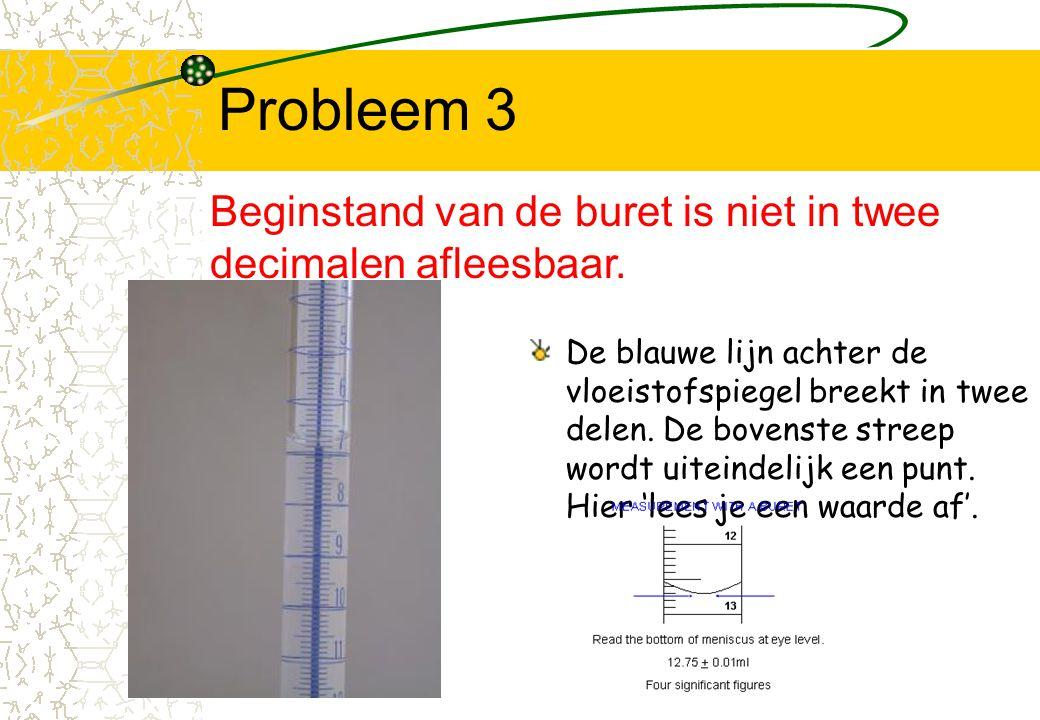 Probleem 3 De blauwe lijn achter de vloeistofspiegel breekt in twee delen. De bovenste streep wordt uiteindelijk een punt. Hier 'lees je een waarde af