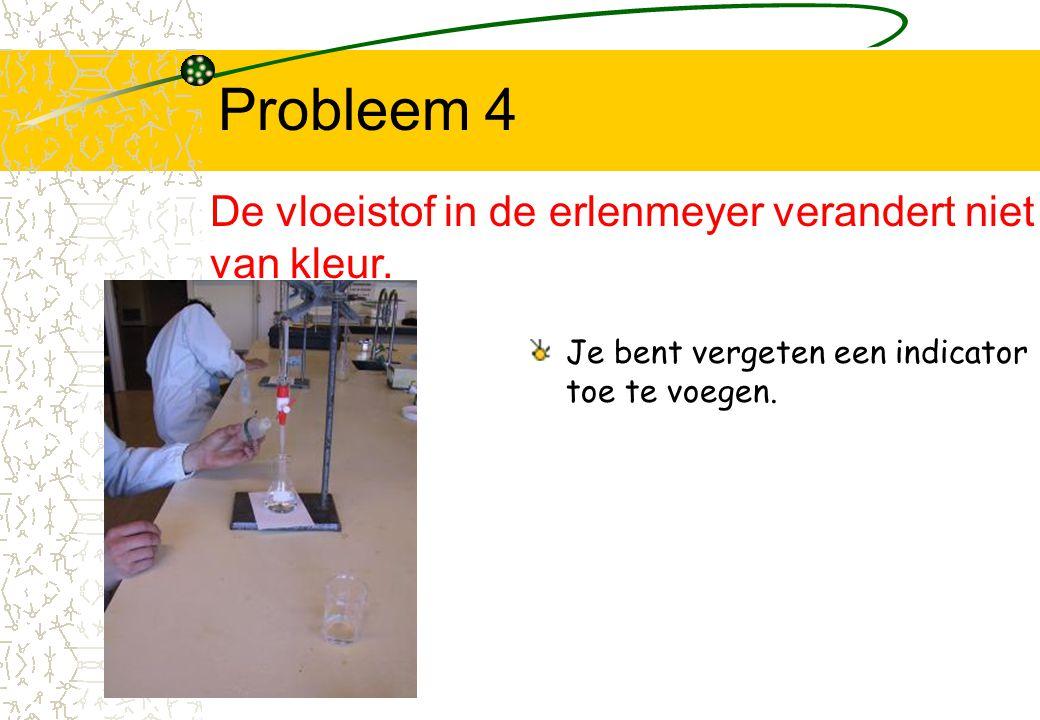 Probleem 4 Je bent vergeten een indicator toe te voegen. De vloeistof in de erlenmeyer verandert niet van kleur.
