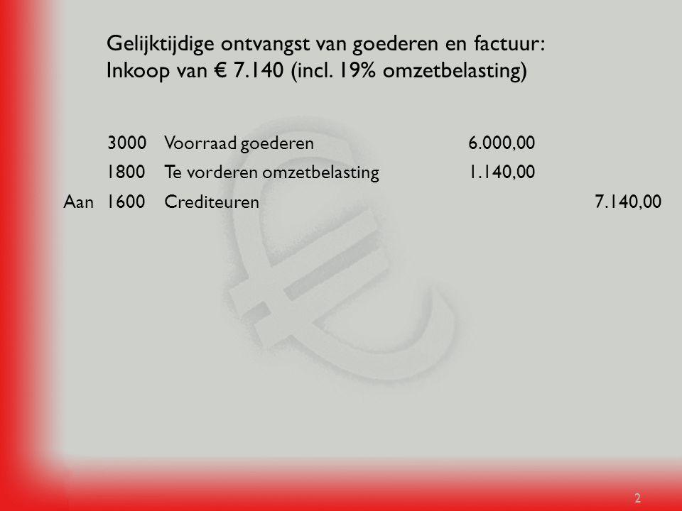 2 Gelijktijdige ontvangst van goederen en factuur: Inkoop van € 7.140 (incl. 19% omzetbelasting) 7.140,00Crediteuren1600Aan 1.140,00Te vorderen omzetb